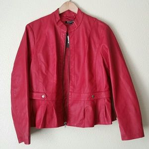 Baccini Red Faux Leather Jacket